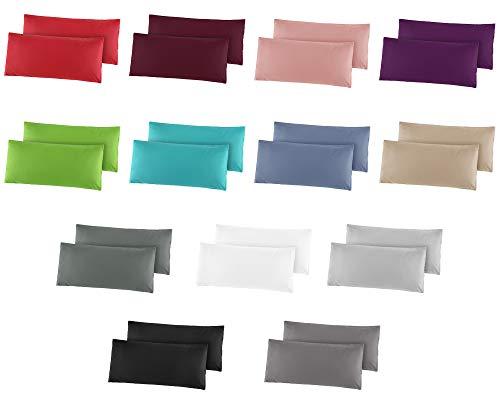 2er Pack Baumwolle Renforcé Kissenbezug, Kissenbezüge, Kissenhüllen 40x60 cm Anthrazit