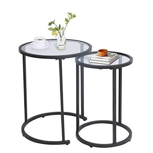 Amazon Brand - Umi Set 2 Mesa Auxiliar Mesas Nido de salón Mesas de café con Tapa de Cristal, 49,5 x 59 cm y 37,4 x 54 cm