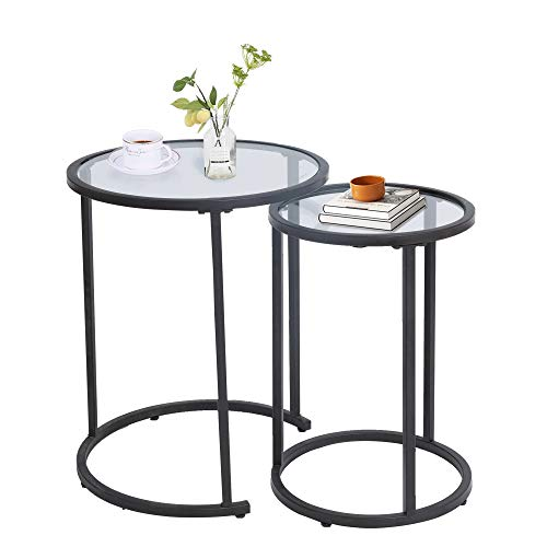 UMI. Round Nest of Tables Side End Coffee Tables Set of 2 with Clear Glass Tops for Living Room Bedroom
