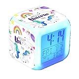 Despertadores Digitales de Unicornio para niñas, Reloj LED con Pantalla LCD de Cubo Brillante Nocturno con luz, Reloj de cabecera para niños, Regalos de cumpleaños para niños