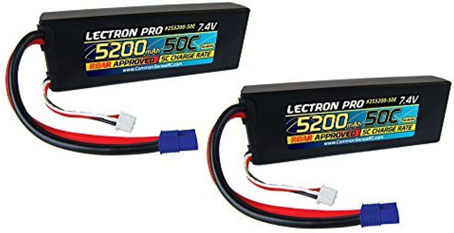 Of Lectron Pro 7.4 volt - 5200mAh 50C Lipos with EC3 Connector by Common Sense RC