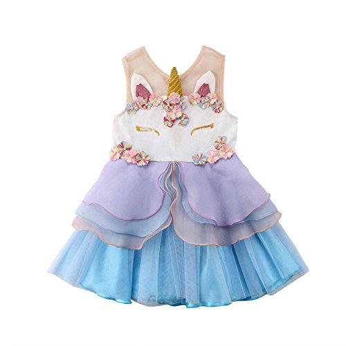 Carolilly Vestito Bambina Unicorno Principessa...
