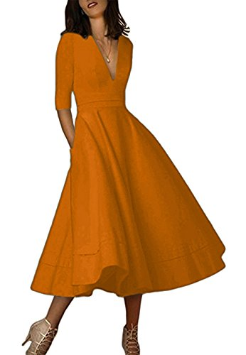 OMZIN Damen Cocktailkleid Elegantes Vintage Kleid V Ausschnitt 50er Retro Partykleid Bronze S