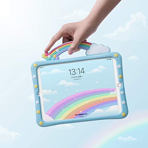 SUOLONG Hülle für iPad Mini 6 2021 / ipad Mini 5 2019, weiche Silikonhülle für ipad 7,9 Zoll. Nette Cartoon-Hülle für Kinder. (Rainbow Bridge)