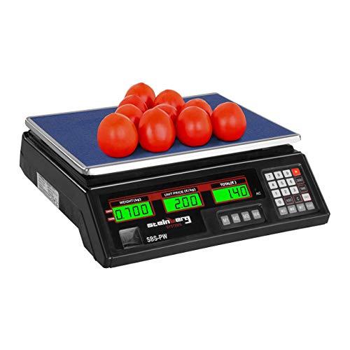 Steinberg Systems Balanza De Control Bascula Digital SBS-PW-352B (35 kg / 2 g, Pantalla LCD, Batería integrada 40 h) Negra