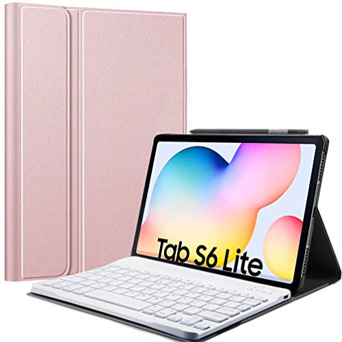 Keyboard Case for Samsung Tablet Galaxy Tab S6 Lite 10.4 inch (SM-P610/P615,2020), Lachesis Business Leather Folio Cover with Detachable Magnetically Bluetooth Keyboard with S-Pen Holder, Rosegold