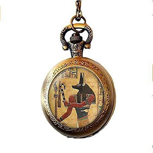 Anubis Pocket Horloge Ketting, Egyptische Heer van De Onderwereld, Egyptische Sieraden, Vintage Bedel Glas Foto Sieraden