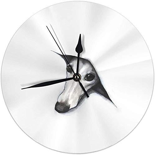 gardenia store Peeping Whippet Round Home Decor - Reloj de Pared (9,84 Pulgadas)