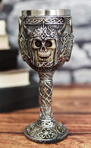 Ebros Viking Berserker Skull With Bison Horned Helmet Wine Goblet 7oz With Celtic Knotwork Patterns Vintage Chalice Cup With Food Safe Stainless Steel Liner As Halloween Ossuary Macabre Skulls Accent