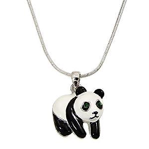 Falari Panda Pendant Necklace Rhinestone Crystal Rhodium High Polished