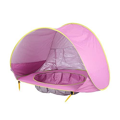 DC CLOUD Tienda Playa Bebe Tienda De Viaje para BebéS Carpa De Playa Plegable para ProteccióN Solar con Piscina FáCil Almacenamiento con Piscina Pink,One Size