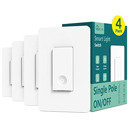 Smart Switch 4 Pack, Treatlife 2.4Ghz Smart Light Switch WiFi Light Switch Single-Pole, Neutral Wire Required, Works with Alexa and Google Assistant, Smart Home Remote Control, FCC/ETL Listed