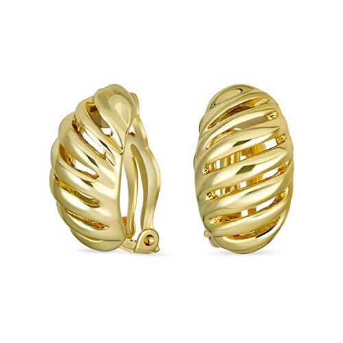 Twist Shrimp Oval Dome Half Hoop Clip On Earrings For Women Non Pierced Ears Polished 14K Gold Tone Plated Brass