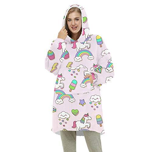 ZWW Manta con capucha de gran tamaño, unisex, suave, cálida, gruesa, con manga y bolsillo, acogedora sudadera reversible, unicornio, adulto