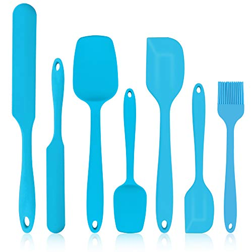 7Pcs Silicone Spatulas PampP CHEF Blue Silicone Rubber Spatula Set 450℉ HeatResistant Baking Utensils for Cooking Baking Mixing Decorating Flexible amp Seamless Design Nonstick amp Dishwasher Safe