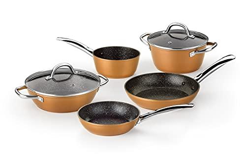 Monix Copper 5-teiliges Set aus geschmiedetem Aluminium, Antihaftbeschichtung, PFOA-frei, für alle Herdarten geeignet, auch Induktion, Kupfer