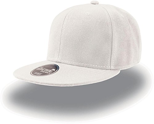 Atlantis Snap Back Flat Visor 6 Panel Cap - White - OS