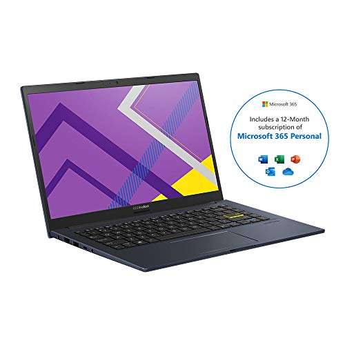 ASUS VivoBook with Microsoft Office 365 Personal - M413DA 14' Full HD Laptop (AMD Ryzen 7 3700U, 8 GB RAM, 512 GB M.2 NVMe PCIe 3.0 SSD, Windows 10) Includes 1 copy of Microsoft 365 Personal