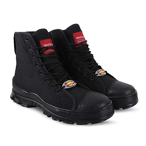 Unistar Antiskid High Ankel Black Jungle Boots- Oil Stain & Water Resistant- Extra Cushion InnerSole -Light Weight Trekking Shoes- Order Free and Sweat Absorption with Free Dust Proof Bag