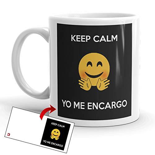 Kembilove Tazas de Desayuno Originales – Taza de Café de Frikis con Mensaje Keep Calm Yo me Encargo – Originales Tazas de Café y Té Ideal para Regalar a Amigos, Parejas – Tazas de 350 ml