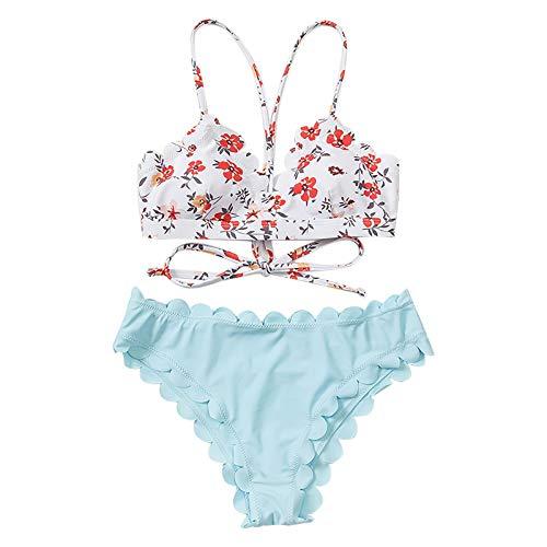 Senyounight - Conjunto de bikini de cintura alta para mujer con estampado floral pequeño sin espalda y tiras, color liso, para playa (azul, grande)