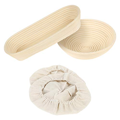 2 Pcs Bread Proofing Baskets, 10 Inch Round &14 Inch Oval Banneton Bread Proofing Basket, Bread Making Dough Rising Bowl, Natural Rattan Sourdough Proving Basket with Linen Liners