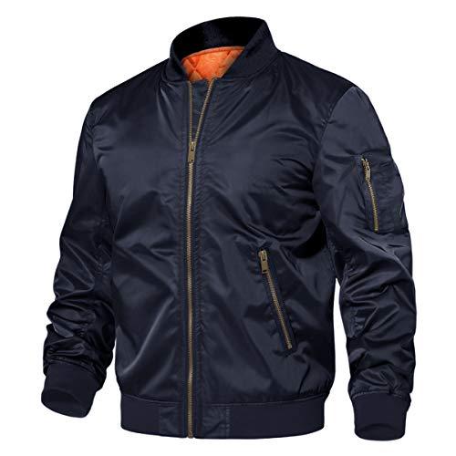 TACVASEN Men's Jackets Classic Winter Warm Thicken Bomber Sportswear Zip Pockets Navy, S