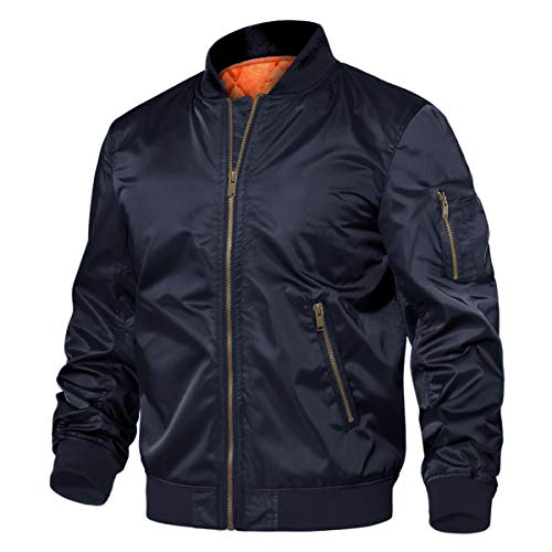 TACVASEN Men's Jackets-Classic Winter Warm Thicken Bomber Sportswear Zip Pockets (Navy XL)