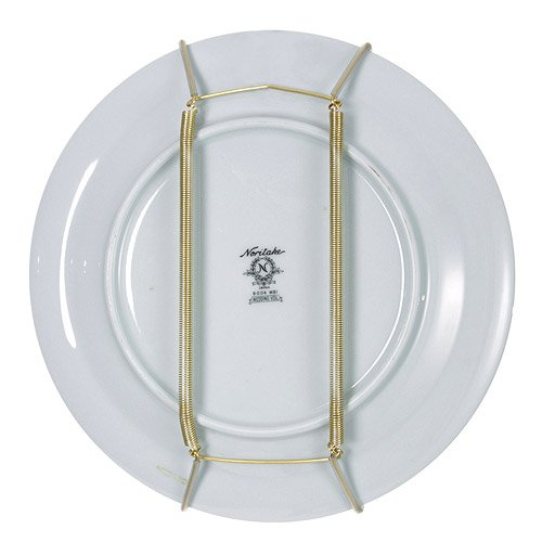 Rocky Mountain Goods Plate Hanger for Wall and Mounting Hardware - Fits Decorative Plates and platters - Heavy Duty Polished Brass - Vinyl Non Scratch Hooks - Includes Wall Mount kit (11' - 17')