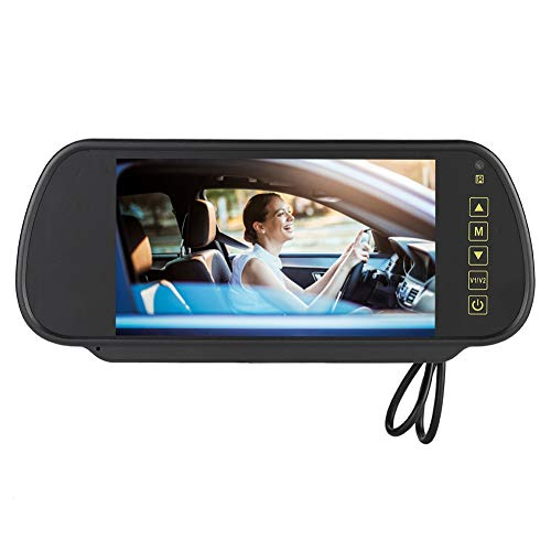 Espejo retrovisor de coche de 7 pulgadas, monitor LCD con atenuación automática, cámara de visión trasera AV2, que reconoce automáticamente, con soporte, con protección contra cortocircuitos, adecuado