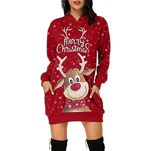 LOPILY Weihnachtskleid Damen Große Größen Pailletten Glitzer 3D Optiken Weihnachten Jumperkleid mit Rentier Gedruckt Goldene Weihnachten Sweatkleider Damen Gr 48 Xmas Ausgestellte Minikleid Christmas