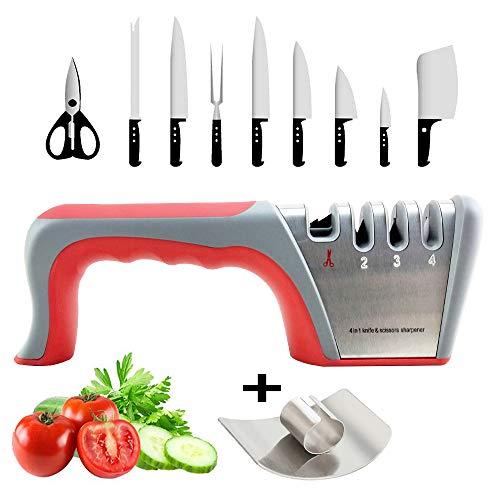 Knife Sharpener, Best 4 in 1 Manual Kitchen Knives & Scissor Sharpeners, 4 - Stage Knife Sharpening System with Diamond Steel, Ceramic Stone, Ergonomic Design, Non-slip Base(Red)