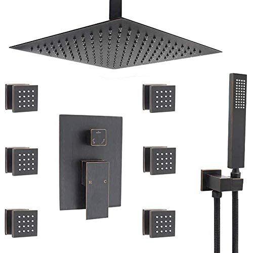 Shower Faucet Set Complete Kit, 12 Inch Rain Shower Head System with Body Jets, Oil Rubbed Bronze