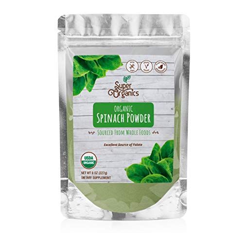 Super Organics Spinach Powder | Excellent Source of Folate – Vegan, Gluten-Free & Non-GMO, 8 Oz