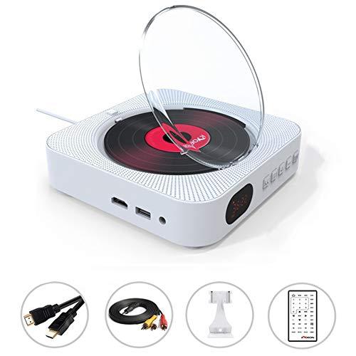 GWX Inicio Bluetooth DVD, Montado En La Pared De CD, Soporte para USB FM Y Bluetooth Múltiples Modos De Reproducción con Dos Altavoces De La Sala De Estar Dormitorio Reproducción De CD,Blanco