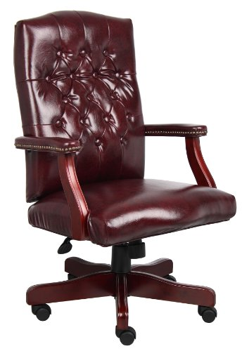 Boss Office Products Classic Executive Caressoft Chair with Mahogany Finish in Burgundy