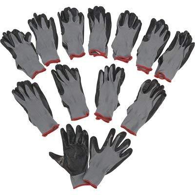 Ironton Nitrile-Coated Work Gloves - 12 Pairs, Black, Large, Model Number 37130IR-L12