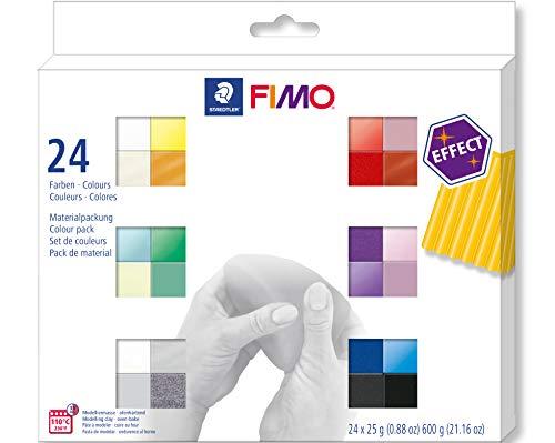 Staedtler C24-1ST FIMO Effect 8013 C24-1 - Pasta da Modellare, Si indurisce in Forno, 24 Colori