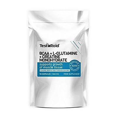 TestoRoid BCAA L-Glutamine & Creatine Explosive Combination Trio New Generation Body Building Supplements 1 Month Supply Top Quality British Product by TestoRoid