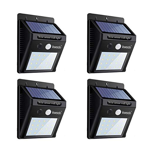 kwsdo,Solar Motion Sensor Light Outdoor, Wireless LED Solar Lights, Waterproof Security Lights for Garden, Yard, Wall, Outdoor Gate with Motion Activated Auto On/Off (4 Packs)