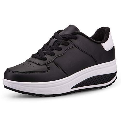 Mujer Adelgazar Zapatos Calientes Fur Botines Sneakers Zapatos de Plataforma de Cuña de Fitness Zapatos de Andar Impermeable Anti Deslizante Zapatos Negro&Blanco-Bajo(Piel Forrada 35 EU