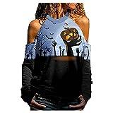 QINGXIA_ZI Camiseta de Mujer Cuello Halter Blusas Manga Larga Polos Impresión de Halloween Pullover Sexy Casual Elegantes Ropa Deportiva Agujeros Huecos Tops Primavera OtoñO y Invierno Fiesta T-Shirt