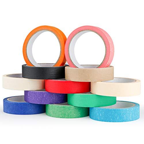 Seamuing Farbiges Abdeckband, 12 Rollen Farbiges Malerkrepp Adhesive, 20mm*20m Rainbow Klebeband Beschreibbares für Basteln, DIY, Handwerk, Scrapbooking und als Etiketten