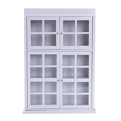 SODIAL(R) 1/12 Muebles en miniatura de casa de munecas Estante de exposicion del gabinete comedor de cocina Blanco