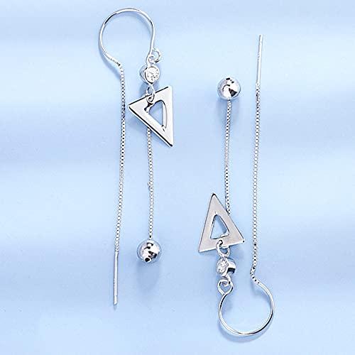 AZPINGPAN S925 Triángulo de plata esterlina con diamantes Línea de oreja coreana Gota para el oído, Borla larga hecha a mano Línea de cruce dulce Temperamento, Exquisita joyería para damas Fiesta de c