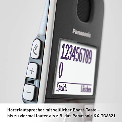 Panasonic KX-TGE522GS DECT Seniorentelefon mit Notruf (Großtastentelefon mit Anrufbeantworter, schnurlos) Silber-schwarz & KX-TGE520GS DECT Seniorentelefon mit Notruf (schnurlos) Silber-schwarz