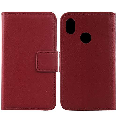 Gukas Design Echt Leder Tasche Für BQ Aquaris C Hülle Lederhülle Handyhülle Handy Flip Brieftasche mit Kartenfächer Schutz Protektiv Genuine Premium Hülle Cover Etui Skin (Dark Rot)