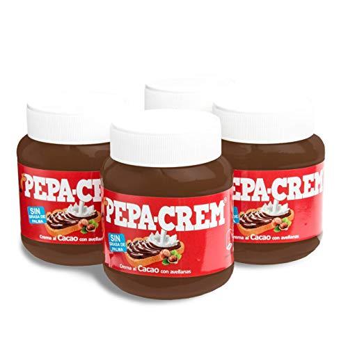 Pepa-Crem. Crema de cacao con avellanas para untar. Sin Aceite de Palma - Sin Gluten - Pack 4 tarros de 400 gr. / tarro.