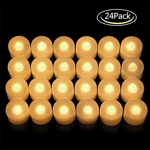 LED Velas,24 Piezas Vela LED Sin Llama Vela,Velas LED Sin Fuego Velas de té con Baterías para Navidad,Navidad,...