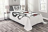 ABAKUHAUS japanische Drachen Tagesdecke Set, Tribal Tattoo Asian, Set mit Kissenbezug farbfester Digitaldruck, für Einzelbetten 170 x 220 cm, Schwarz-weiß-rot